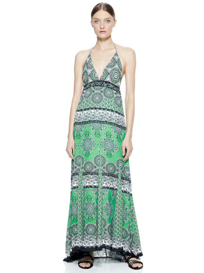 ALETTE HALTER MAXI DRESS - BOHO ROMANCE-JADE MULTI - Alice And Olivia