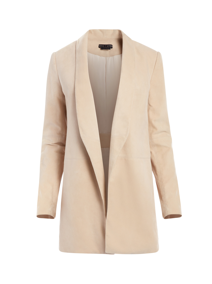 XAVIER SUEDE DRAPE JACKET - TAUPE - Alice And Olivia
