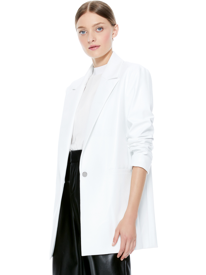 DUNN ROLL CUFF VEGAN LEATHER BLAZER - OFF WHITE - Alice And Olivia