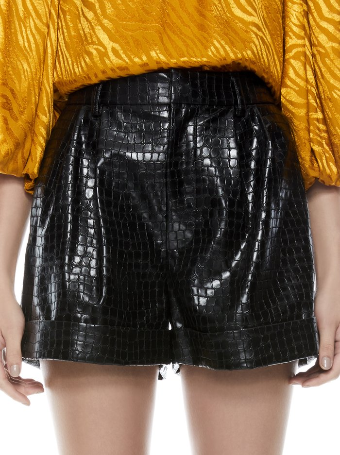 CONRY VEGAN LEATHER CUFF SHORT - BLACK - Alice And Olivia