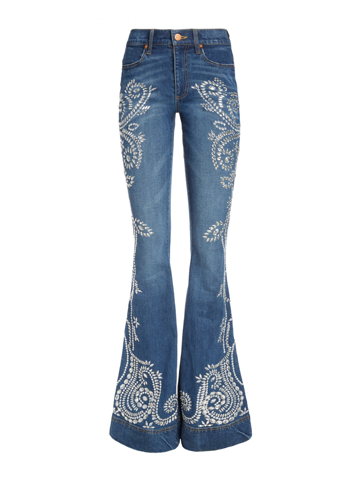 BEAUTIFUL CRYSTAL HIGH RISE JEAN - GOOD TIME/CRYSTAL - Alice And Olivia