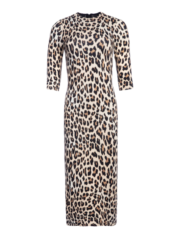 DELORA FITTED MOCK NECK MIDI DRESS - TEXTURED LEOPARD - Alice And Olivia