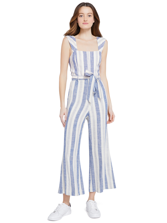 MARTY GAUCHO JUMPSUIT - CREAM/BLUE - Alice And Olivia