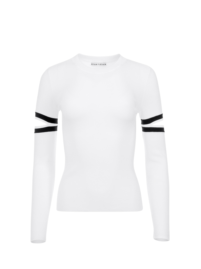 JAZI CUT OUT SLEEVE PULLOVER - SOFT WHITE/BLACK - Alice And Olivia