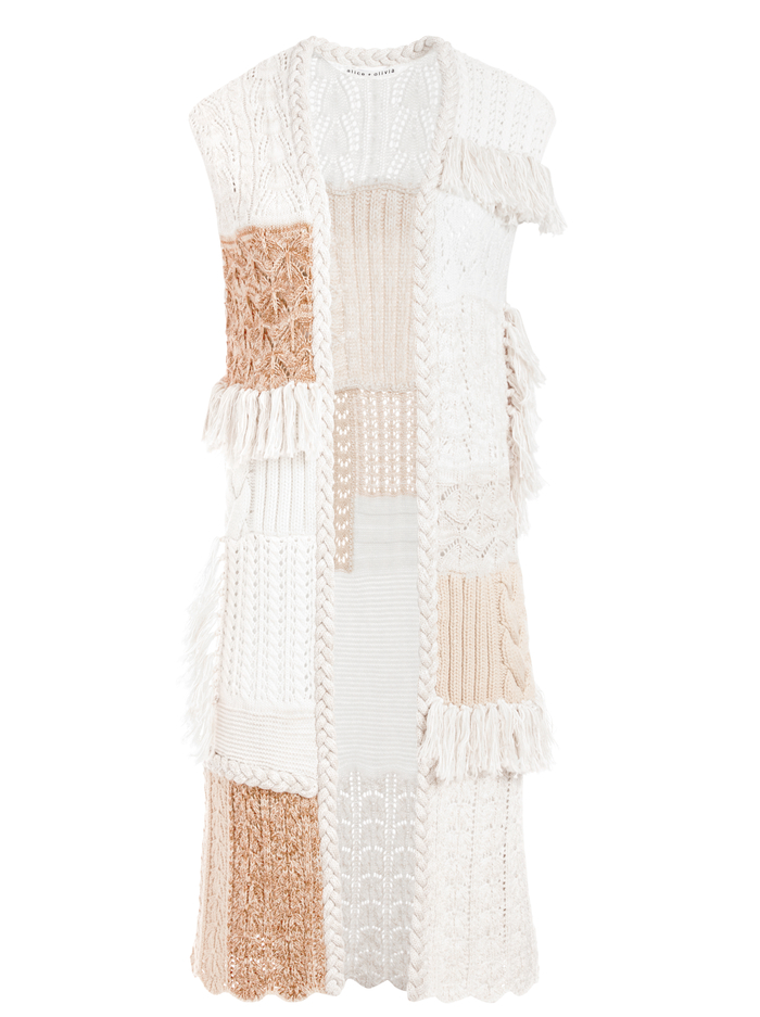 PERRY PATCHWORK SWEATER VEST - CREAM/SEPIA - Alice And Olivia