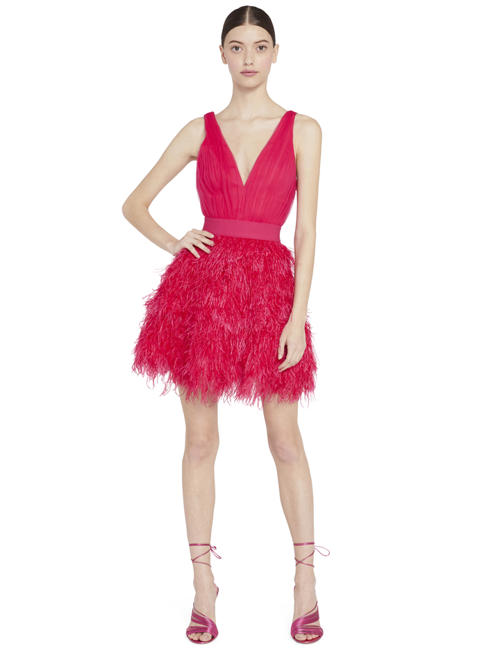 TEGAN FEATHER PARTY MINI DRESS - WILD PINK - Alice And Olivia