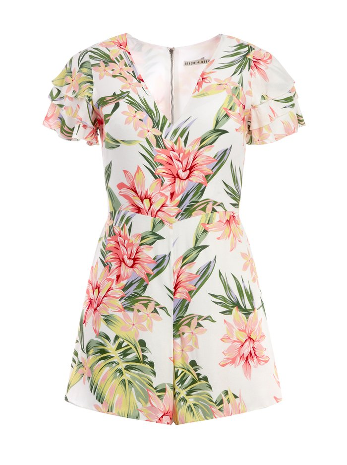 MACALL FLORAL RUFFLE ROMPER - HIBISCUS FLORAL - Alice And Olivia