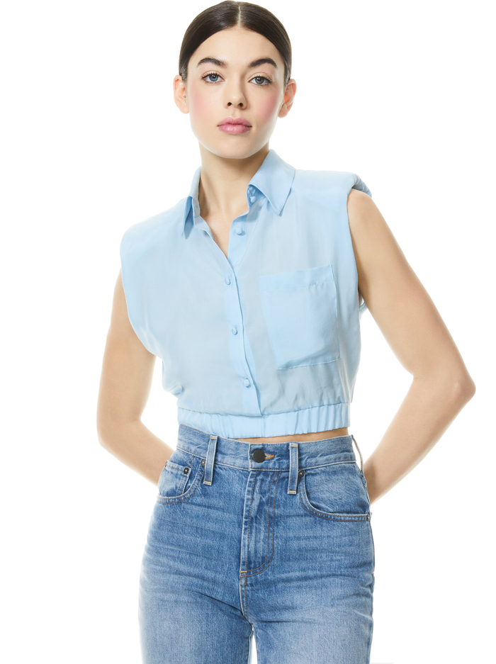 ARIELLE STRONG SHOULDER CROP TOP - POWDER BLUE - Alice And Olivia