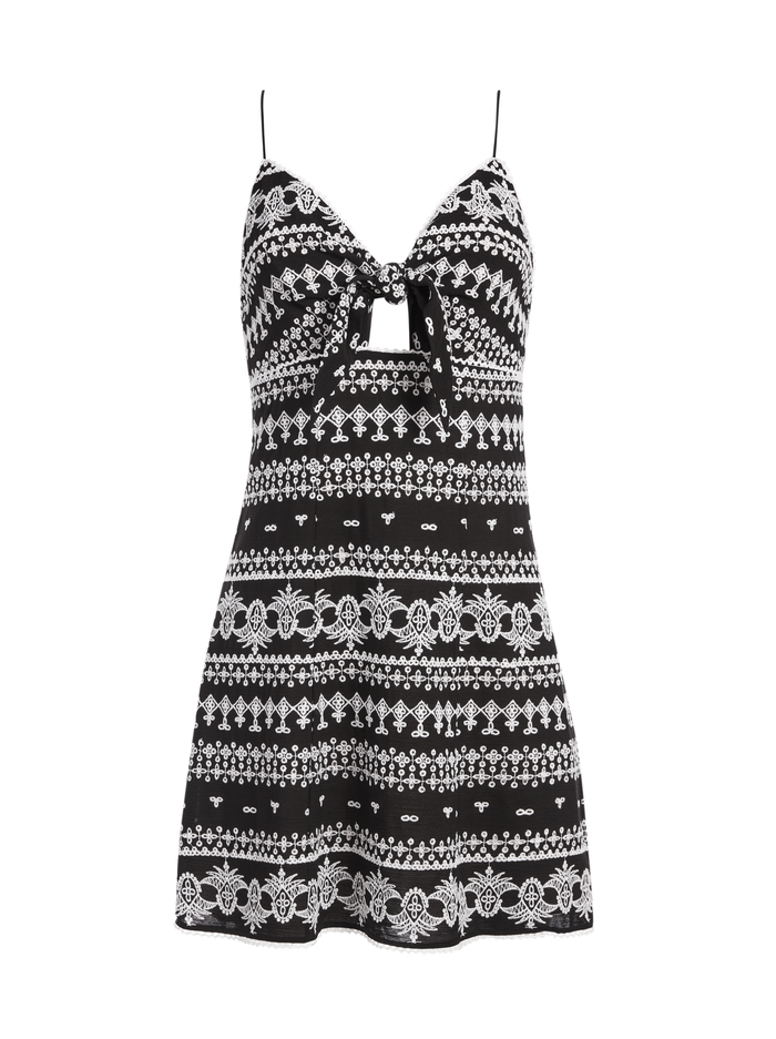 ROE TIE FRONT MINI DRESS - BLACK/OFF WHITE - Alice And Olivia