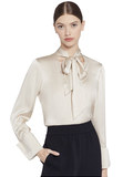 ROSINA TIE NECK BLOUSE - TAUPE
