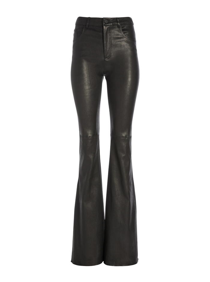BRENT HIGH WAISTED LEATHER PANT - BLACK - Alice And Olivia