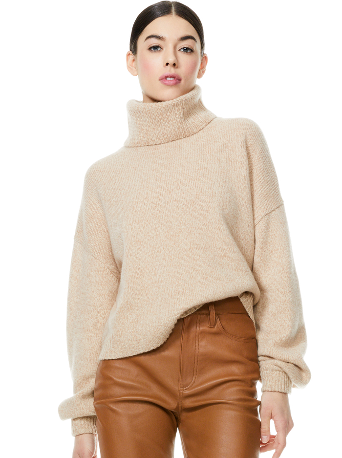 FRANKLYN TURTLENECK PULLOVER - OATMEAL/CAMEL - Alice And Olivia
