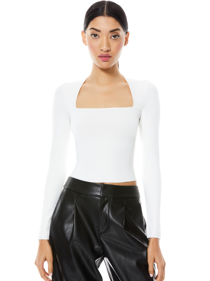 RICARDA CUT OUT CROP TOP - SOFT WHITE - Alice And Olivia