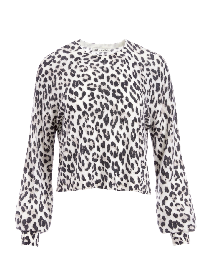 ANSLEY LEOPARD PULLOVER - ROYAL LEOPARD - Alice And Olivia