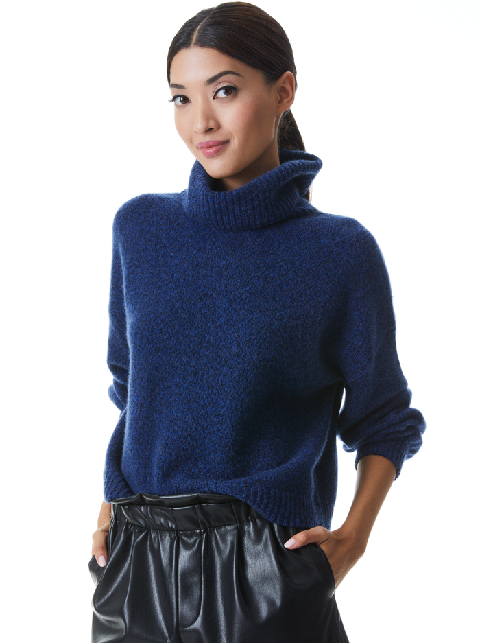 FRANKLYN TURTLENECK PULLOVER - NAVY MULTI - Alice And Olivia