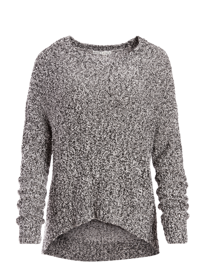 ROMA OVERSIZED PULLOVER - BLACK/SOFT WHITE - Alice And Olivia