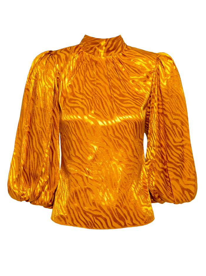 ANNABELLE PUFF SLEEVE BLOUSE - AUTUMN GOLD - Alice And Olivia