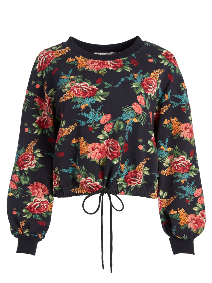 BERNETTA FLORAL PULLOVER - FLORAL EXPRESS SM BLACK - Alice And Olivia