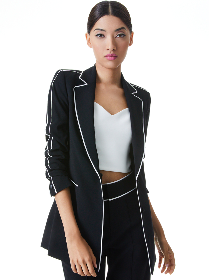 VALERIA PIPED FITTED BLAZER - BLACK/OFF WHITE - Alice And Olivia