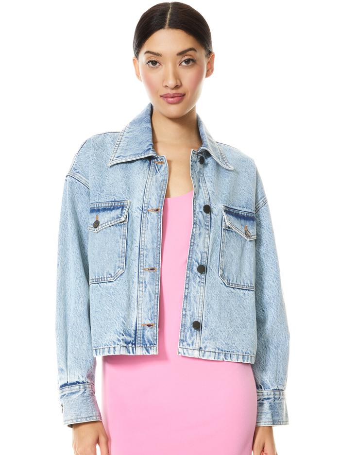 DEAN BOXY CROPPED JACKET - ROAD TRIP - Alice And Olivia