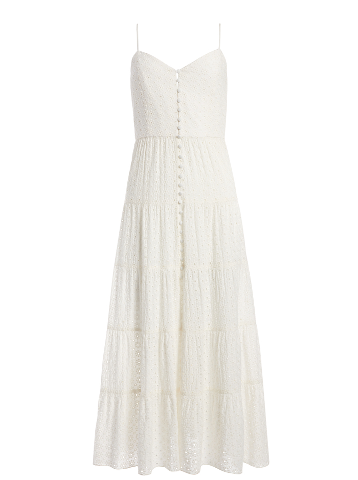 SHANTI BUTTON FRONT MAXI DRESS - OFF WHITE - Alice And Olivia