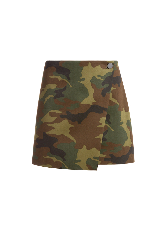 RENNA BUTTON FRONT CAMO SKIRT - CAMO GIRL - Alice And Olivia