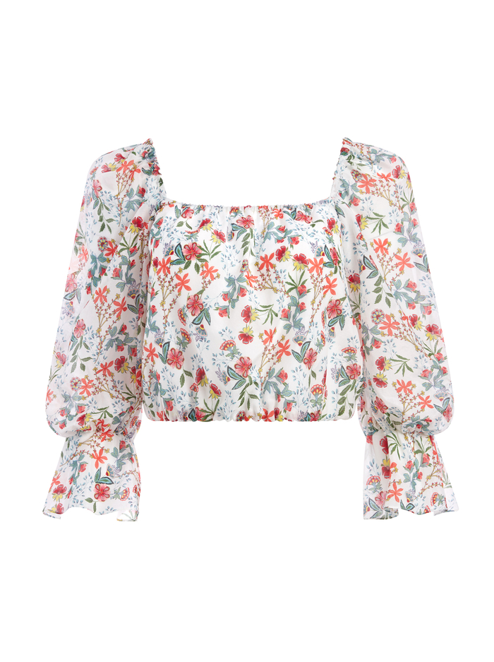 DEB FLORAL BLOUSON SLEEVE BLOUSE - BLUE BELL SOFT WHITE - Alice And Olivia