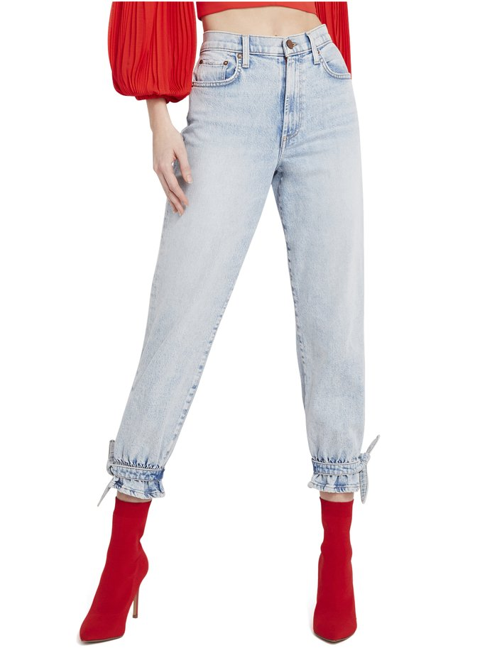AMAZING HIGH RISE TIE PANT - BABY BLUES - Alice And Olivia