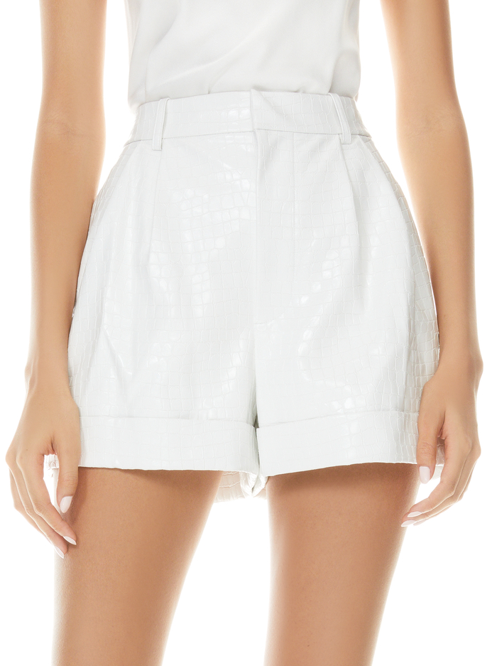 CONRY VEGAN LEATHER SHORT - OFF WHITE - Alice And Olivia