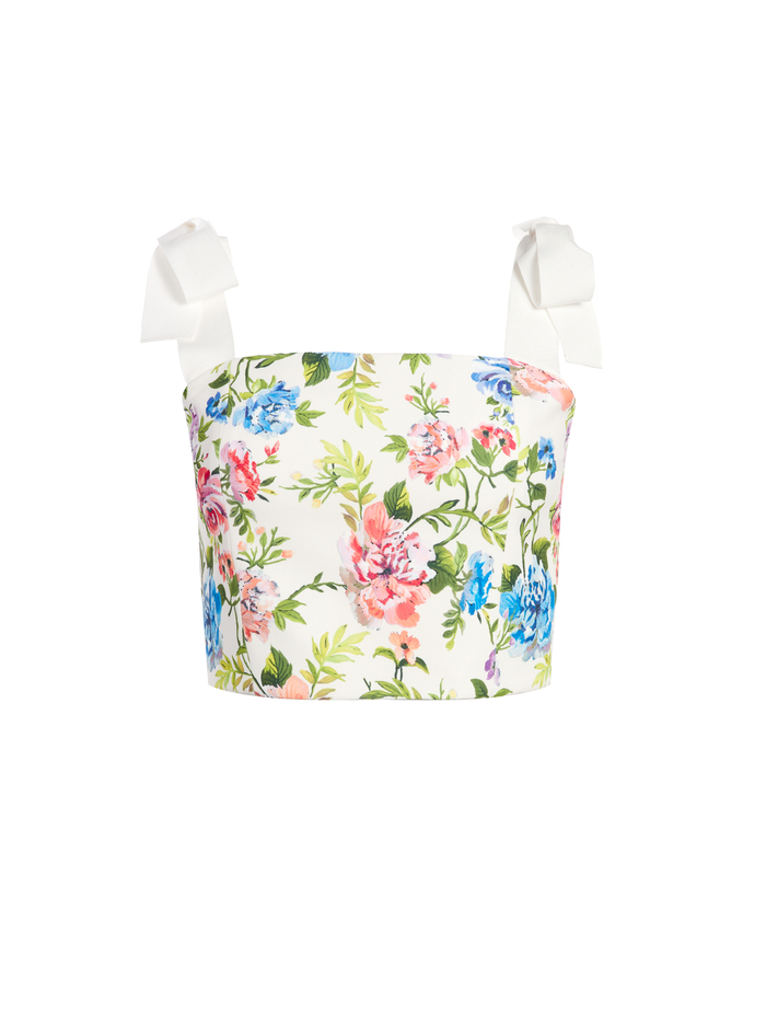 NIKA FLORAL FITTED CROP TOP - GARDENIA - Alice And Olivia