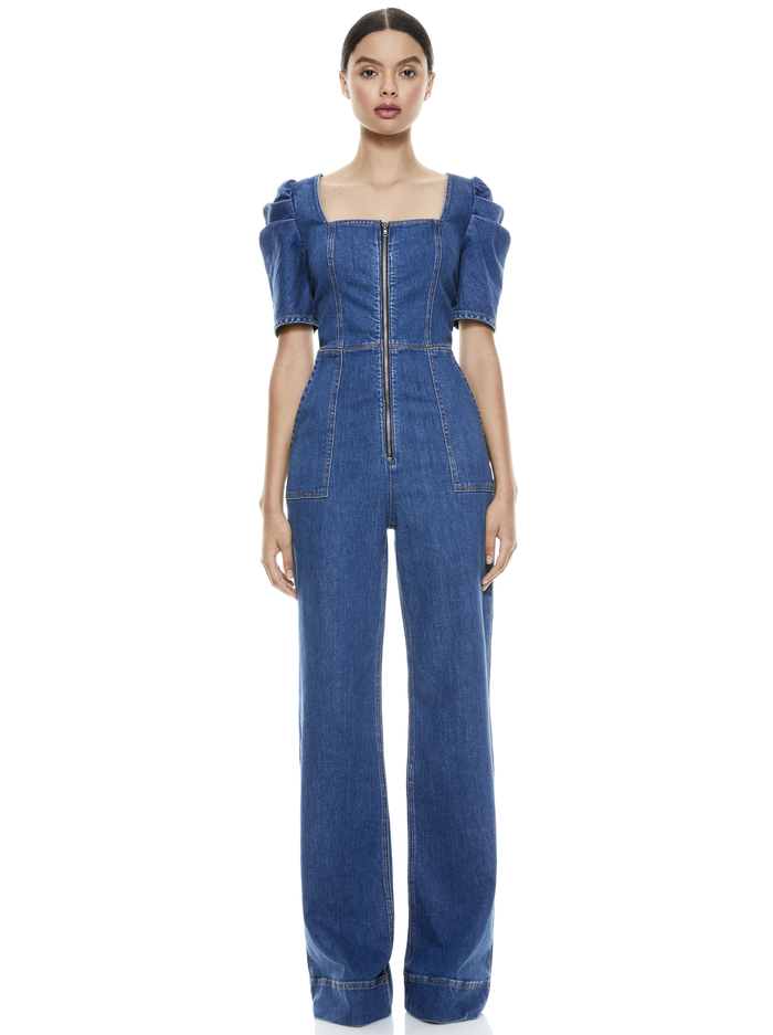 KENNEDY PUFF SLEEVE JUMPSUIT - OFF THE CUFF - Alice And Olivia