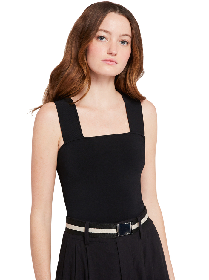 RASHIDA SQUARE NECK CROPPED TANK - BLACK - Alice And Olivia