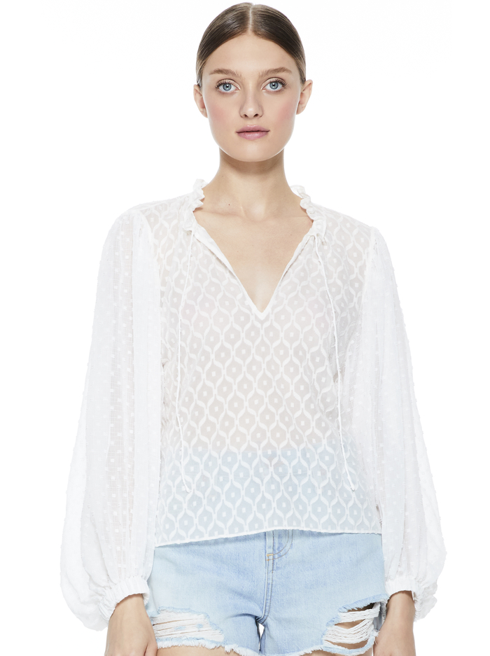 JULIUS BLOUSON SLEEVE TUNIC TOP - OFF WHITE - Alice And Olivia