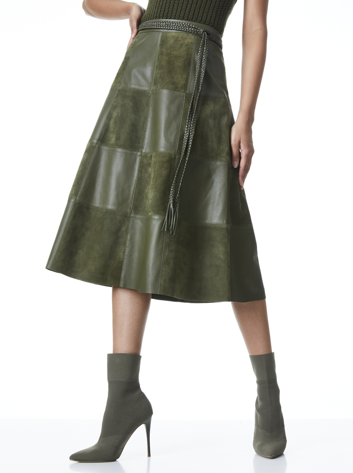SOSIE SUEDE PATCHWORK MIDI SKIRT - OLIVE - Alice And Olivia