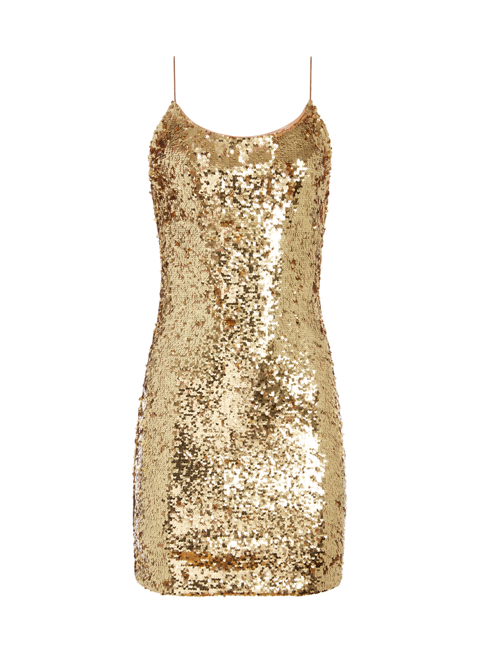 GISELLE SEQUIN FITTED MINI DRESS - GOLD - Alice And Olivia