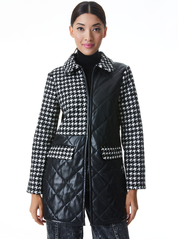 SUSAN QUILTED VEGAN LEATHER COAT - BLACK/WHITE - Alice And Olivia