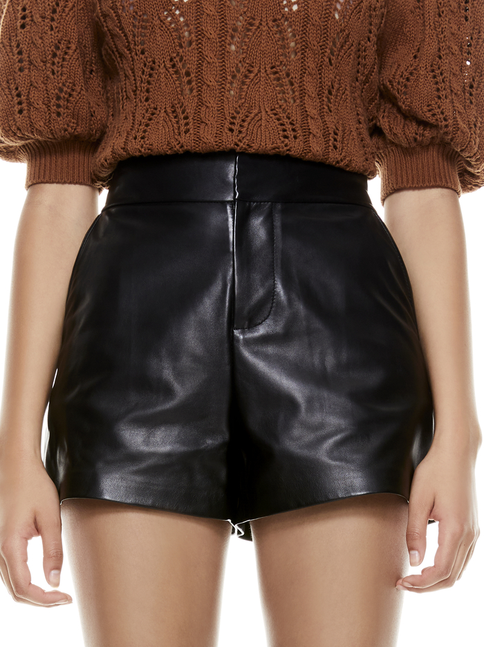 CADY HIGH WAISTED LEATHER SHORT - BLACK - Alice And Olivia