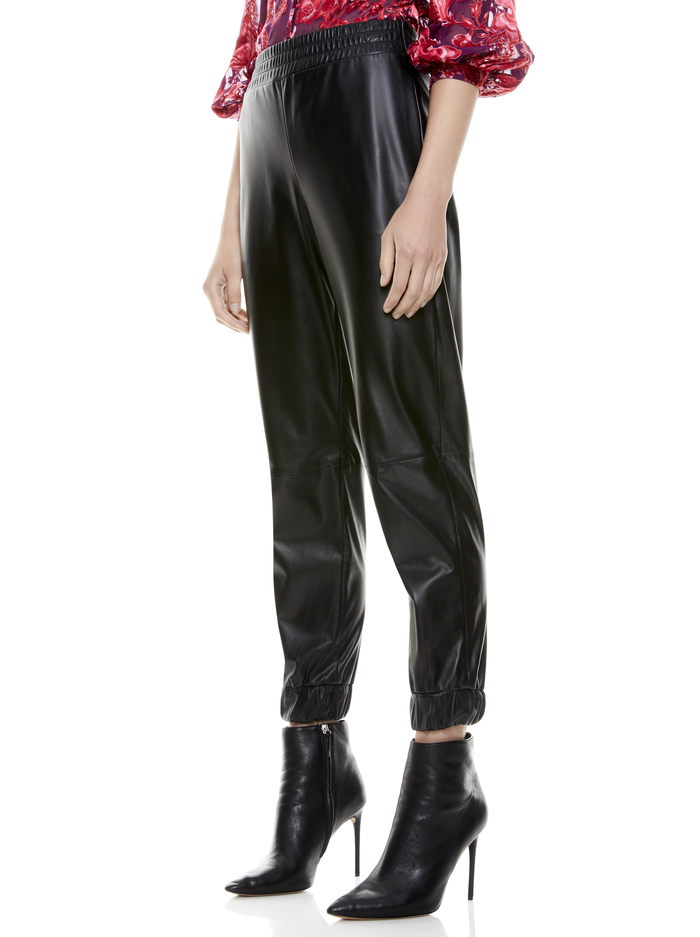PETE VEGAN LEATHER JOGGER - BLACK - Alice And Olivia