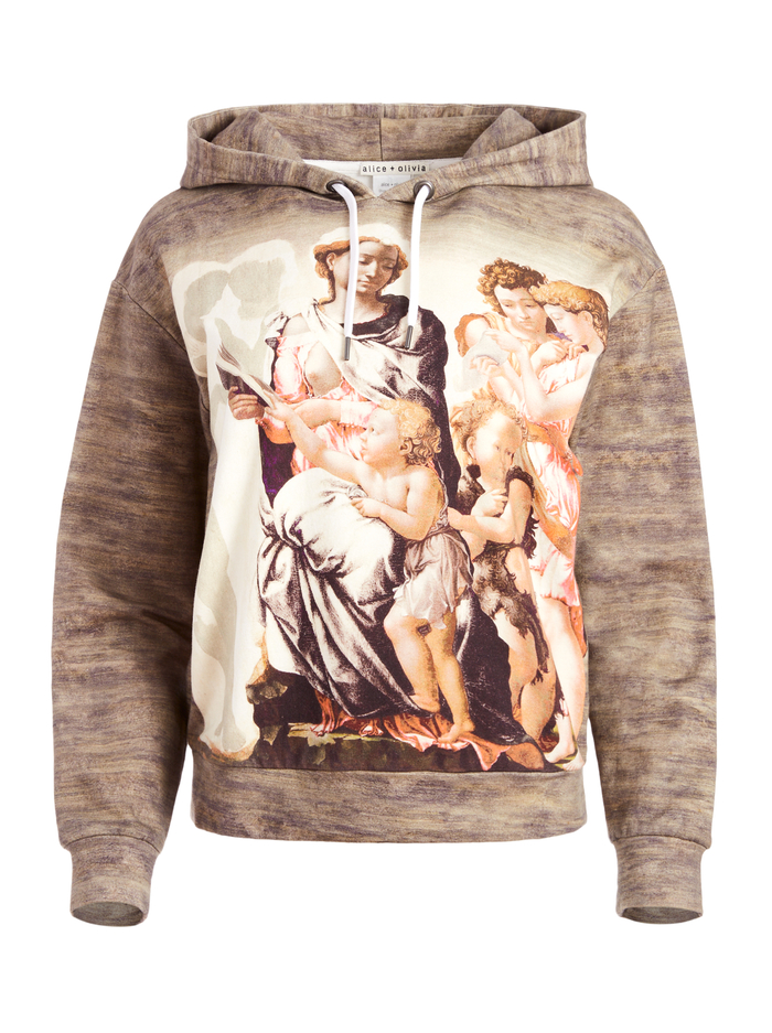 BARRON WIDE SLEEVE HOODIE - MADONNA AND CHILD MULTI - Alice And Olivia