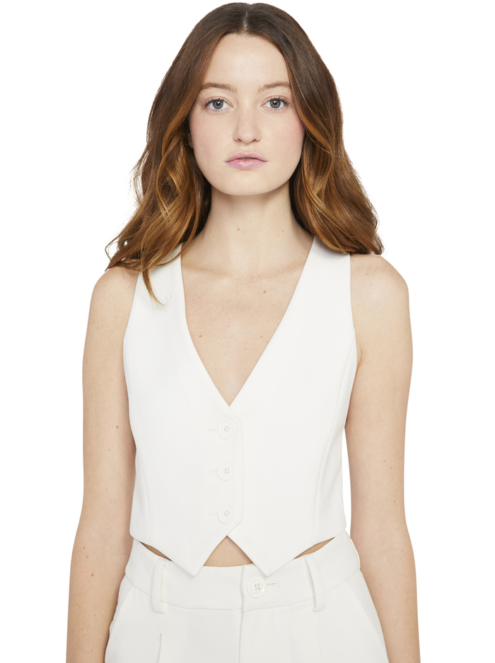 DONNA CROPPED VEST - OFF WHITE - Alice And Olivia