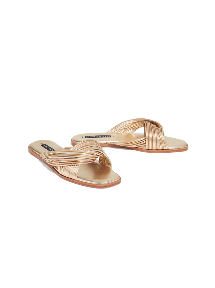 COREE OPEN TOE SLIDE - PALE GOLD/GOLD/ROSE GOLD - Alice And Olivia