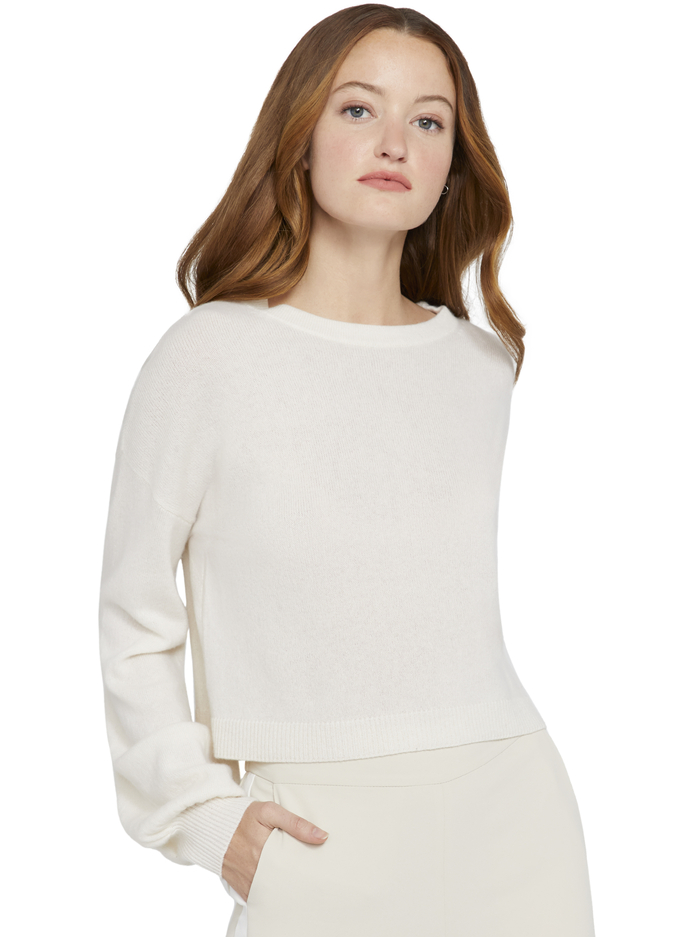 ANSLEY WIDE SLEEVE CROPPED SWEATER - SOFT WHITE - Alice And Olivia