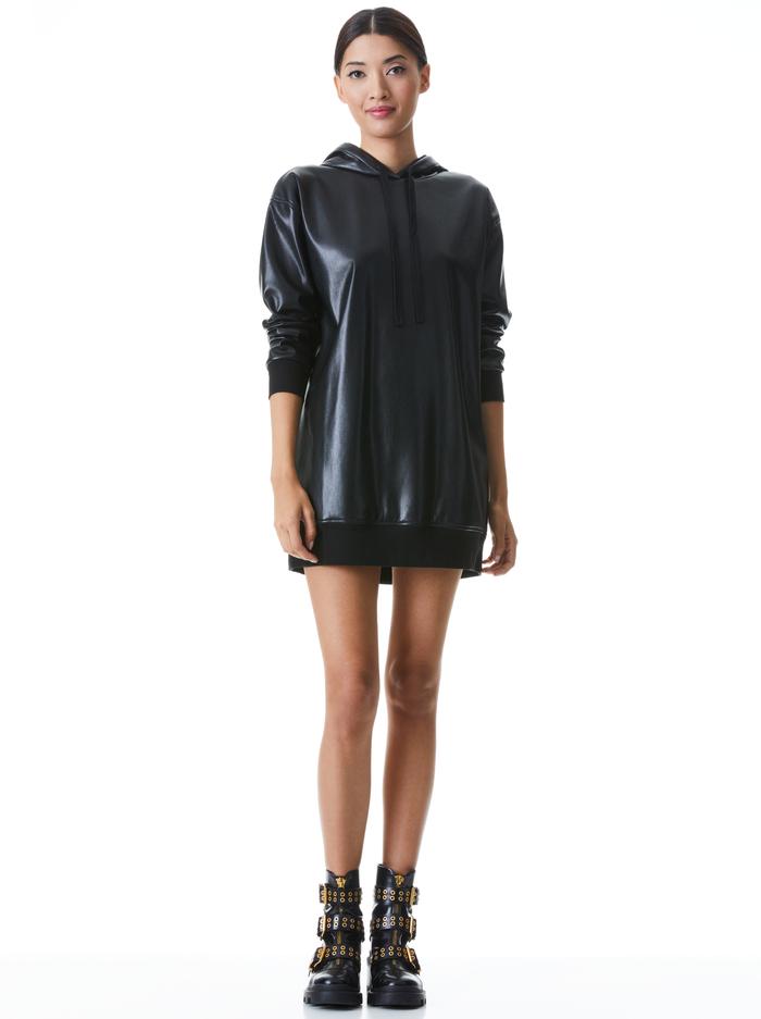 DECLAN VEGAN LEATHER SWEATSHIRT DRESS - BLACK - Alice And Olivia