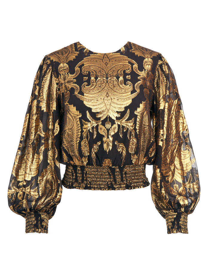 DEEANN METALLIC PAISLEY CROP TOP - BLACK/GOLD - Alice And Olivia