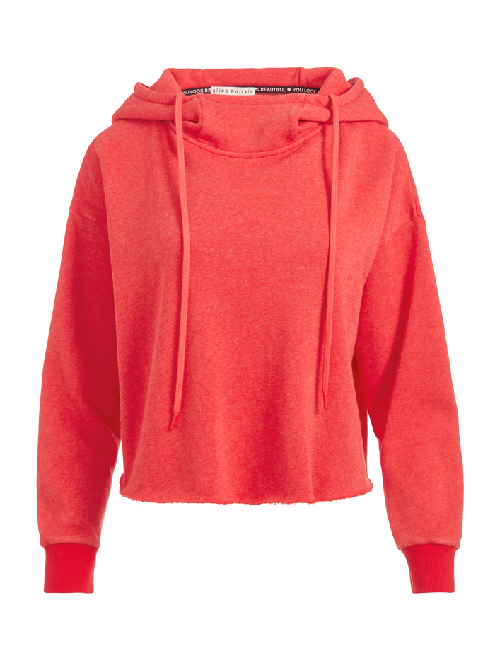NIKKI FUNNEL NECK HOODIE - BRIGHT POPPY - Alice And Olivia