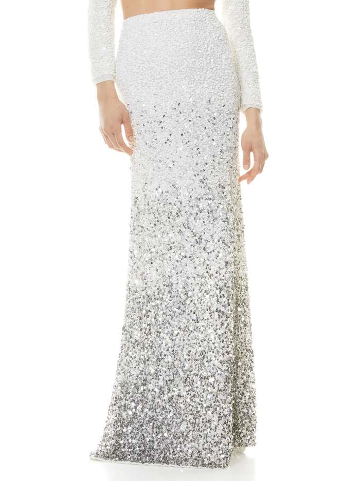HOUSTON OMBRE SEQUIN GOWN SKIRT - OFF WHITE/MULTI - Alice And Olivia