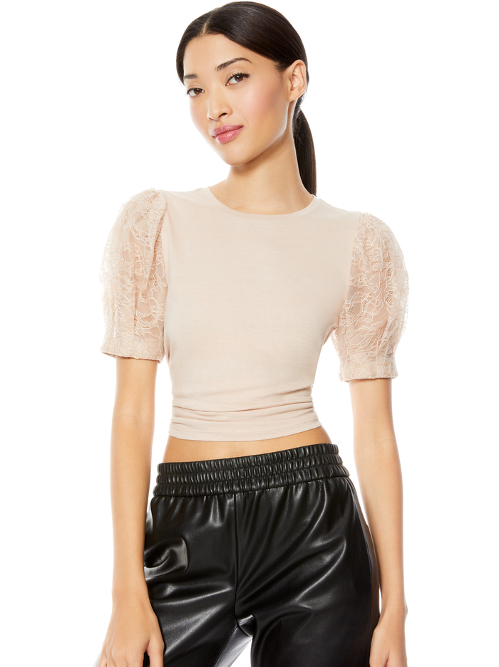 POSEY LACE PUFF SLEEVE TEE - ALMOND - Alice And Olivia