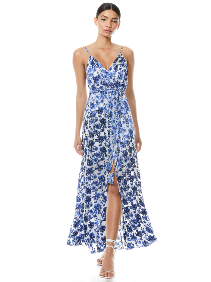 SAMANTHA BELTED FLORAL MAXI DRESS - FORGET ME NOT LG ANTIQUE WHITE - Alice And Olivia