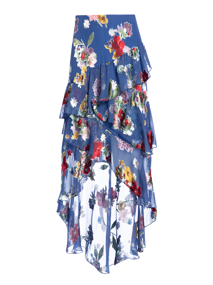 MARIEL RUFFLE FLORAL SKIRT - COLORFUL BOUQUET RIVIERA - Alice And Olivia