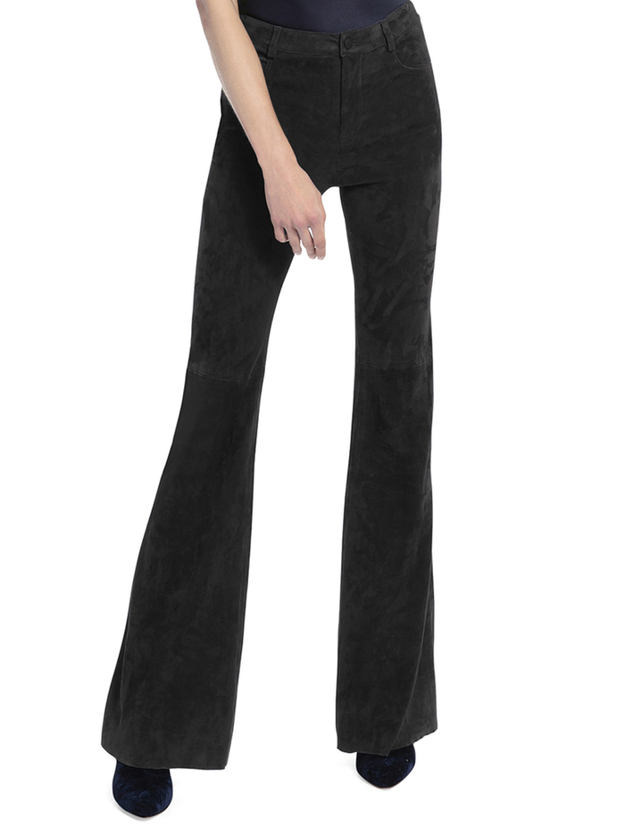 SUEDE BELL PANT - BLACK - Alice And Olivia
